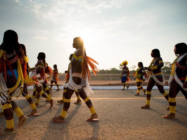 Índios Kaiapó durante os Jogos Mundiais dos Povos Indígenas (Foto: Marcelo Camargo/Agência Brasil)